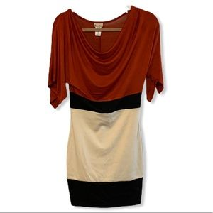 Rust orange tan color block cowl neck fitted dress